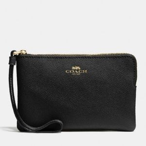 Coach small black wristlet NWT
